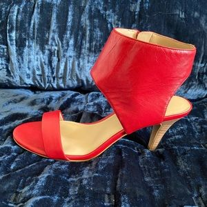Red leather ankle strap heel